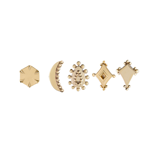 Bold Detailed Gold Studs
