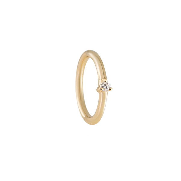 Métier by tomfoolery 9kt yellow gold seamless clicker hoop earring with claw set white diamond