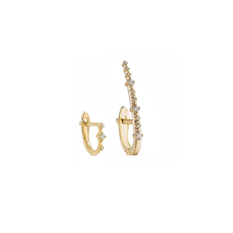 Métier 9ct Yellow Gold Petite Triple White Diamond Huggie and Tall Petite Diamond Huggie Earring