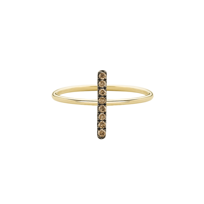 metier by tomfoolery: Yellow Gold Champagne Diamond Bar Ring
