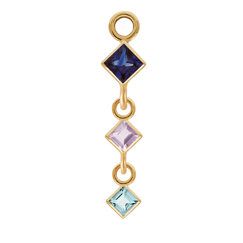 Metier by Tomfoolery: Triple Blue Sapphire, Tanzanite and Topaz Plaque