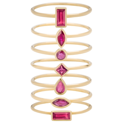 Metier by Tomfoolery: Ruby Stacking Rings