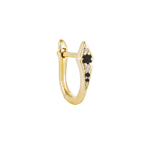 Métier 9ct Yellow Gold Point Huggie Black and White Diamond