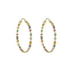 Metier by Tomfoolery: Midi Mixed Cut Gemstone Hoops