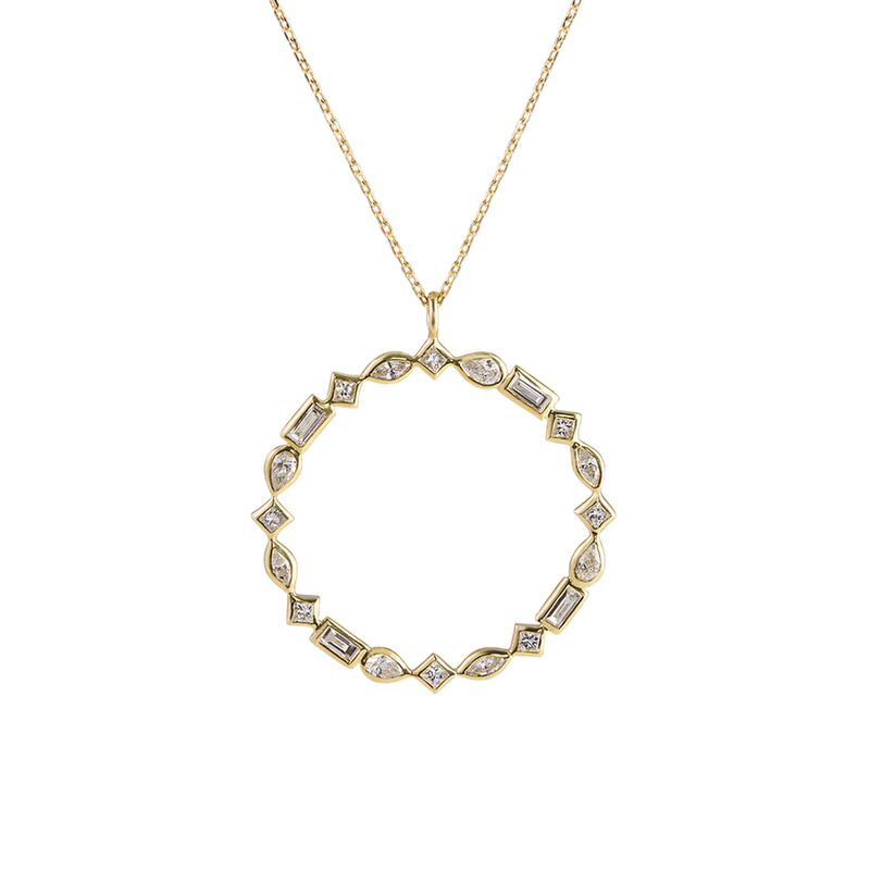 Metier by Tomfoolery: Midi Mixed Cut Diamond Pendant