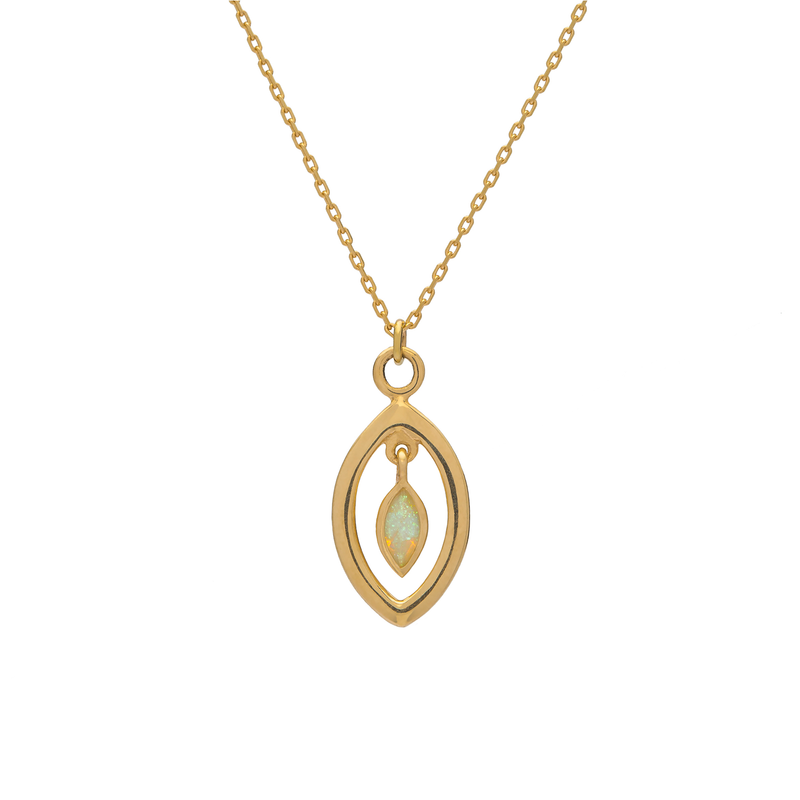 Metier by Tomfoolery: Opal Ouvert Pendant (Marquise)