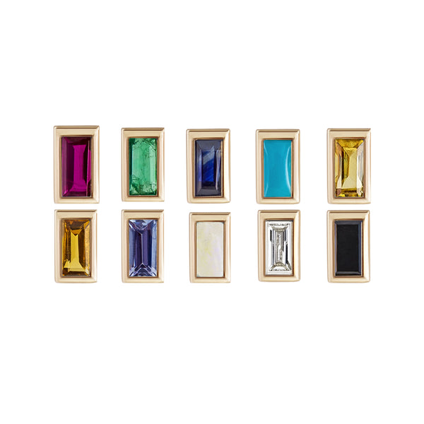 Mini Baguette Gemstone Studs