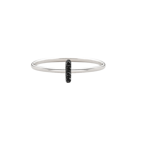 White Gold Black Diamond Bar Rings