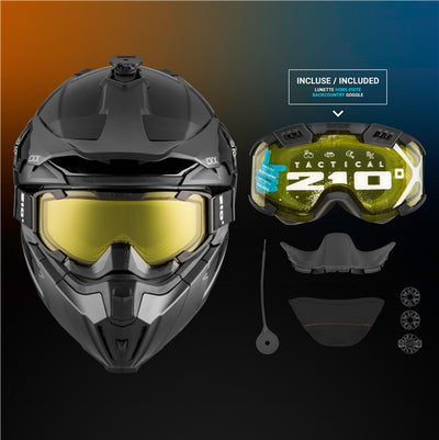 CKX Titan Original Backcountry Helmet, Winter Solid Gloss Black - Included 210° Goggles