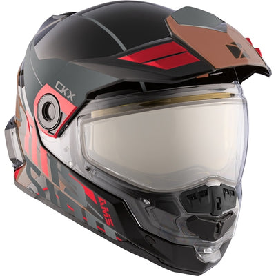 CKX Mission AMS Full Face Helmet Ramble Gloss Red/Brown Electric Double Lens