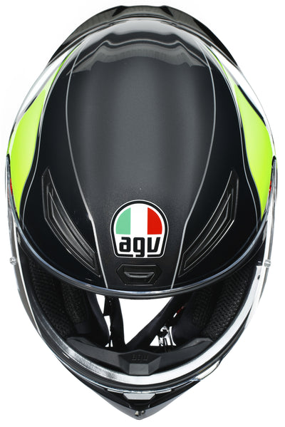 AGV HELMET K-1 POWER GUNMETAL/WHITE/GREEN