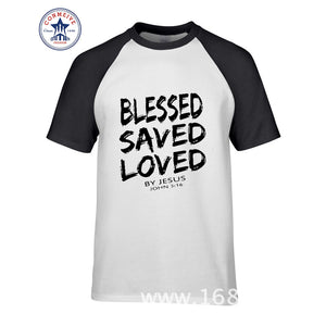 00e5b43ffff06 New Summer Tee Christian Jesus BLESSED SAVED LOVED John 3 16 Bible Lines  Cotton T Shirt