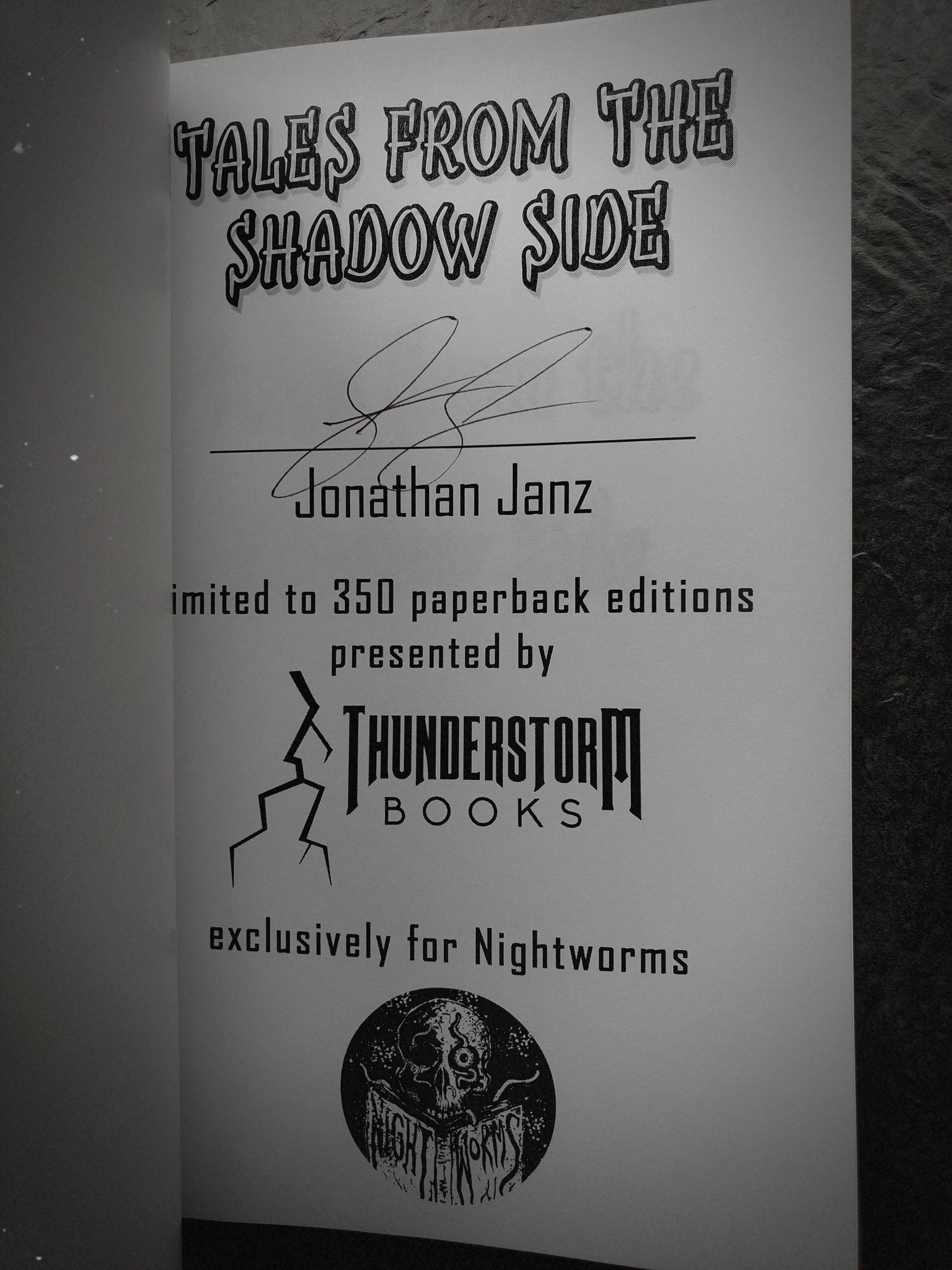 SIGNED, EXCLUSIVE NIGHTWORMS EDITION Tales from the Shadow Side by Jonathan Janz