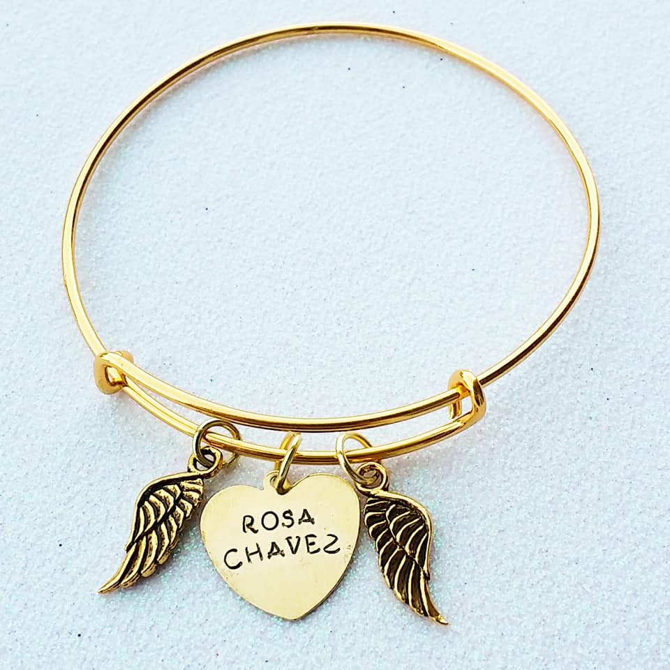 Custom Memorial Bangle with Wings