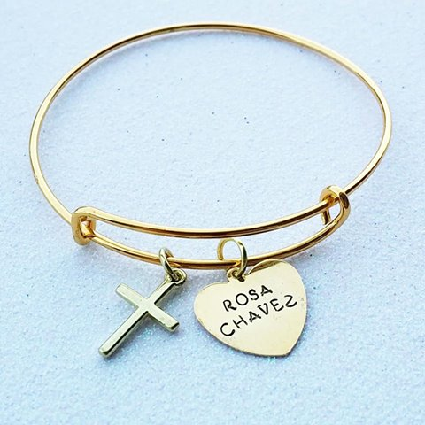Custom Memorial Bangle with Cross