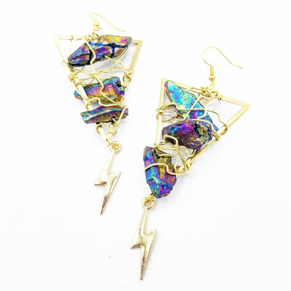 Quartz Lightning Earrings (electroplated)