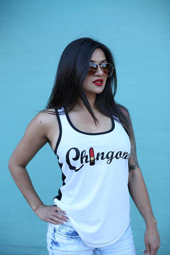 Chingona LipStick white & black Tank