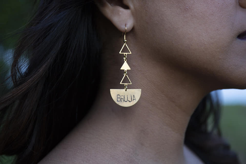 Bruja Quarter Moon Earrings with Triangles