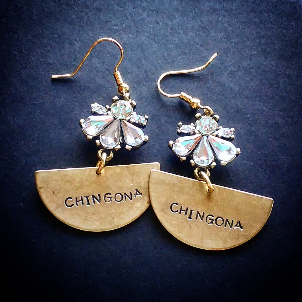 Half Moon Chingona Earrings with Flared Crystals