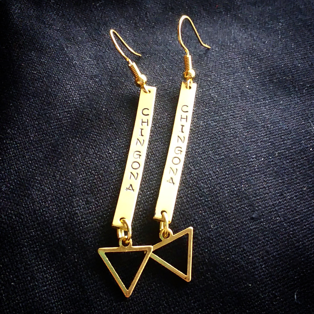 Chingona Brass open triangle Earrings