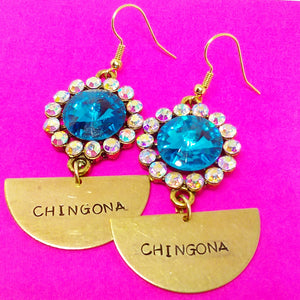 Half Moon Chingona Olympic Blue crystal Earrings
