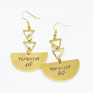 Feminist AF triangle earrings