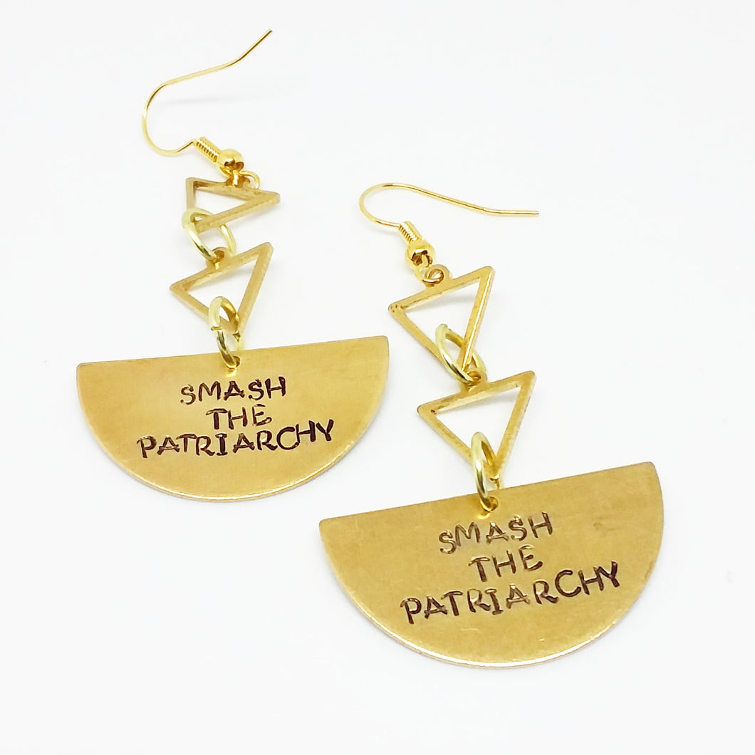 Smash the Patriarchy triangle earrings