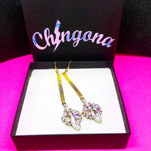 Chingona brass & Rhinestone Earrings