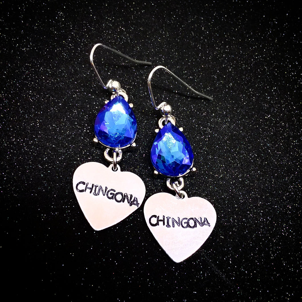 Chingona Blue Rhinestone Earrings
