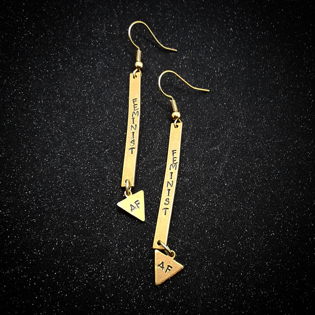 Feminist AF bar/triangle earrings