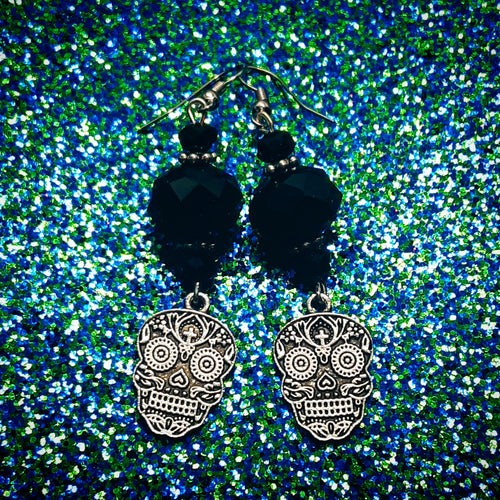 Black Crystal SugarSkull Earrings