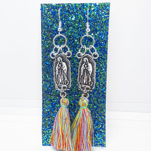 Virgencita Earrings with multicolored tassel