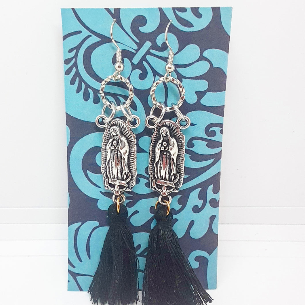 Virgencita Earrings with Black Tassels
