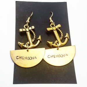 Half Moon Chingona Anchor Earrings