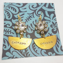 Load image into Gallery viewer, Chingona Half Moon Earrings with Rhinestones