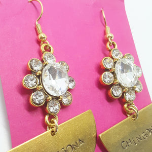 Chingona Half Moon Earrings with Rhinestones