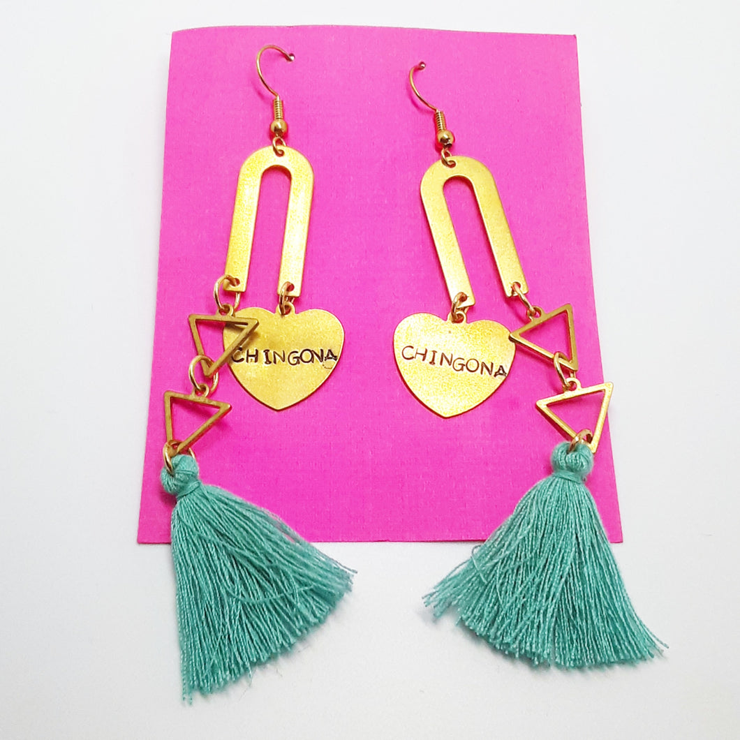 Chingona double gold bar strand with turquoise tassels