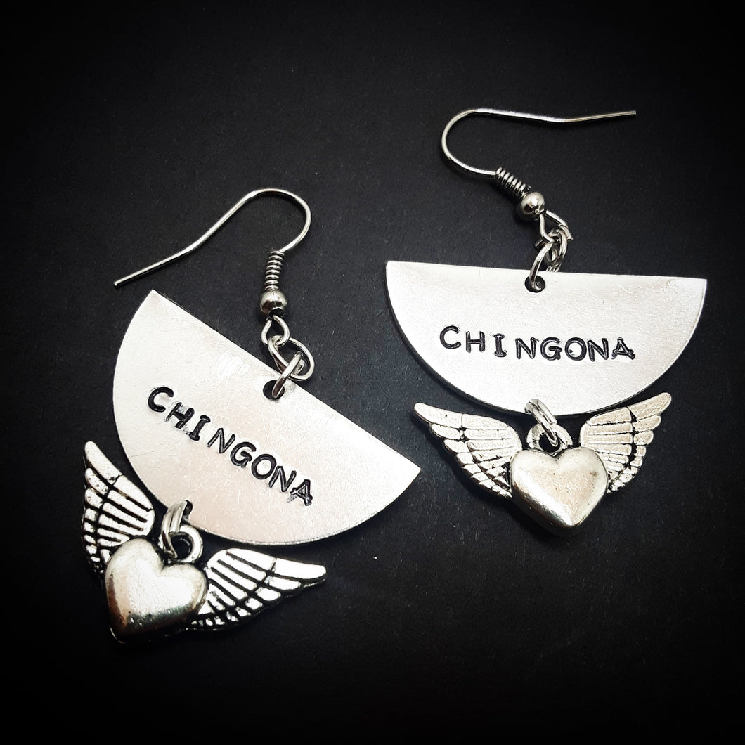 Half Moon Chingona corazon con alitas Earrings
