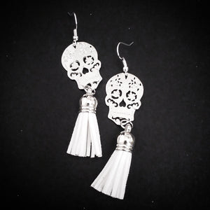 Sugar Skull Tassel Earrings