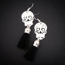 Load image into Gallery viewer, Sugar Skull Tassel Earrings