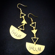 Load image into Gallery viewer, Bruja Quarter Moon Earrings with Triangles