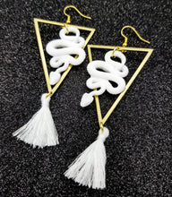 Load image into Gallery viewer, White DiamondHead Snake Earrings