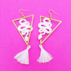 White DiamondHead Snake Earrings