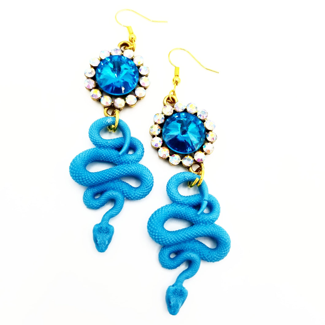 Blue rhinestone Snake Earrings