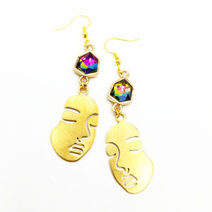 Iridescent rhinestone Rostro Earrings