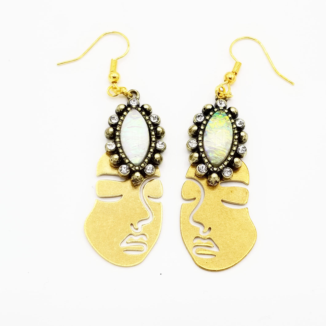 Faux Opal Eye Rostro Earrings