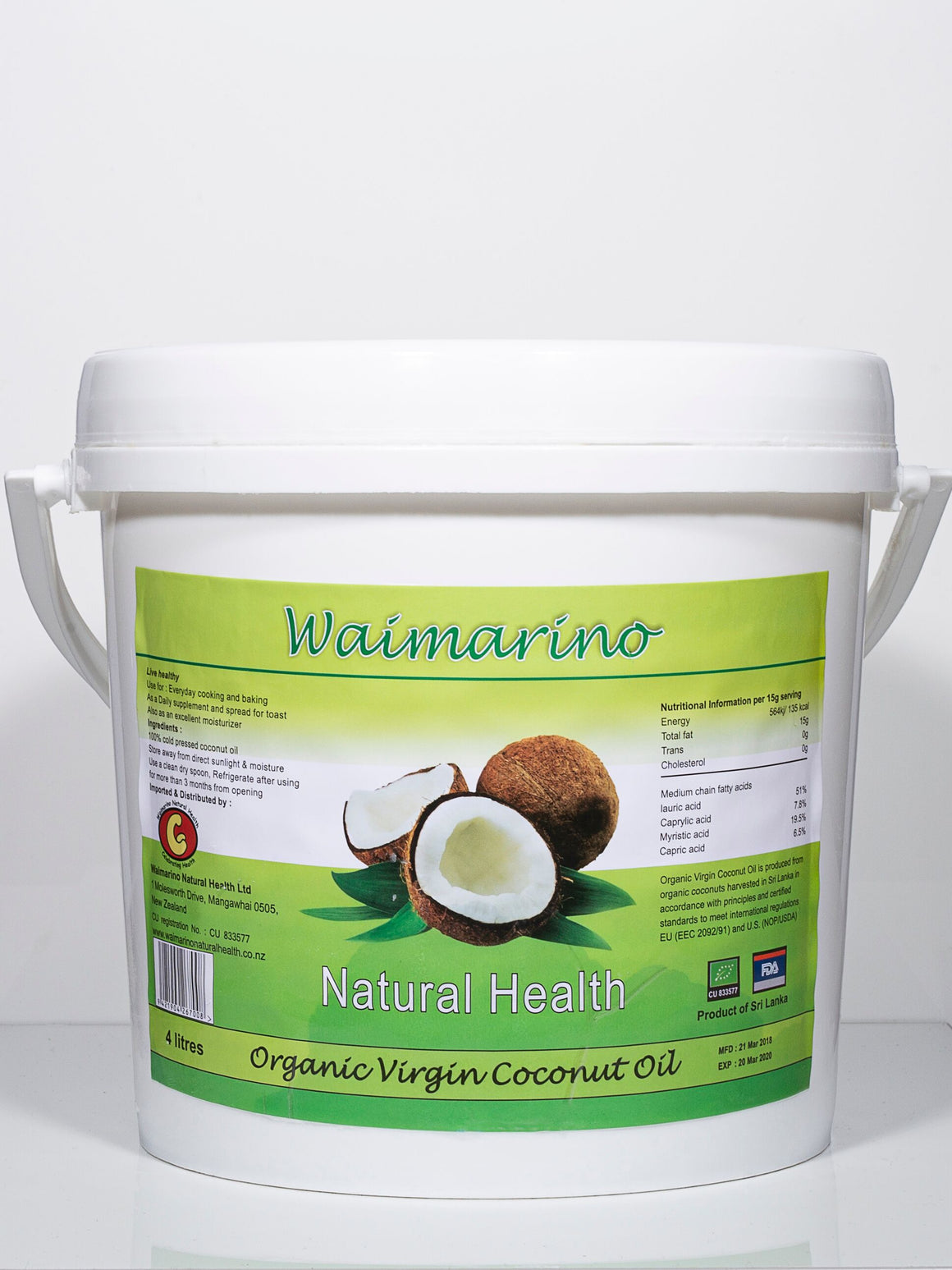 Waimarino Organic Virgin Coconut Oil - 4 Litres