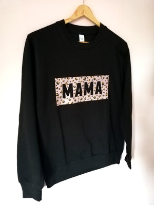 Black Leopard Print Mama Sweater
