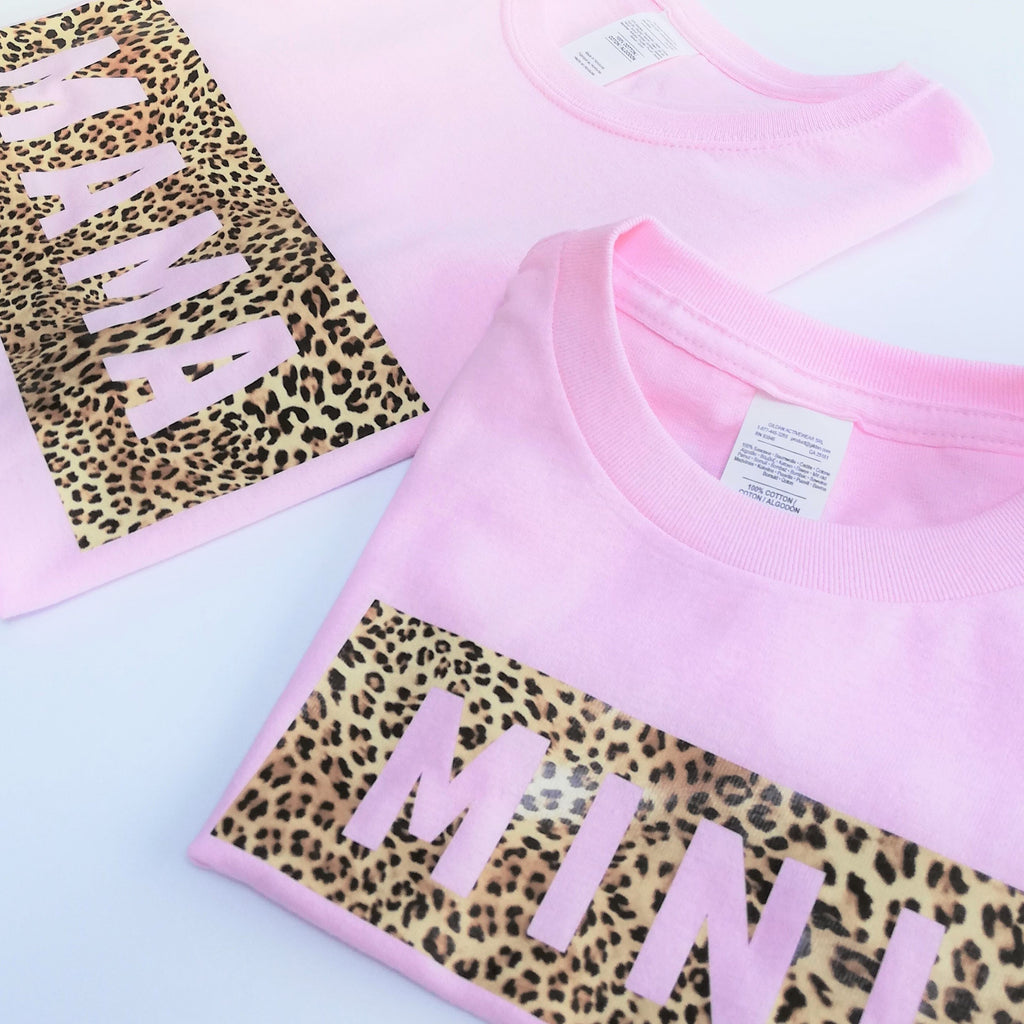 Leopard Print MAMA and MINI Tees (Pink)