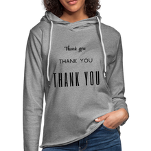 "Load image into Gallery viewer, Unisex Lightweight Terry ""Thank You"" Hoodie - heather gray"